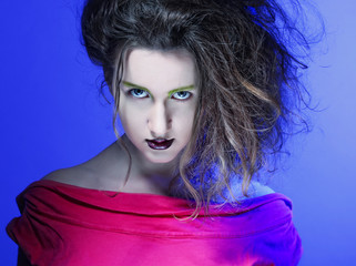 beautiful young woman with bright make-up