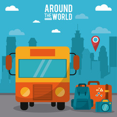 around the world. bus pin map luggage photo camera vector illustration
