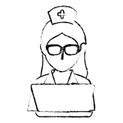 woman nurse with laptop avatar character vector illustration design