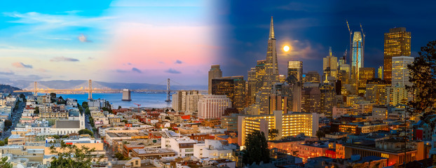 Day to night timelapse timeslice San Franciso panorama with full moon