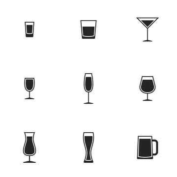 Icons for theme Drink alcohol beverage. White background