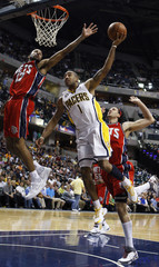 Pacers' Jones shoots during the fourth quarter of their NBA basketball game against the Pacers in Indianapolis