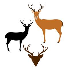 Deer vector illustration style Flat black silhouette