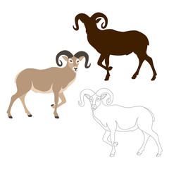 ram sheep vector illustration style Flat black silhouette
