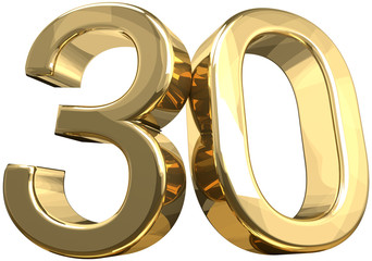 30 golden number isolated 3d rendering