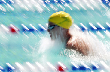 Jones of Australia swims during her heat of the women's 100m breaststroke at the Pan Pacific 2010 swimming championships in Irvine