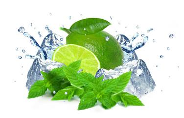 Lime splash and ice