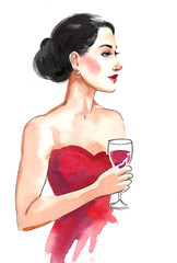 Woman in red dress with a glass of red wine. Watercolor painting