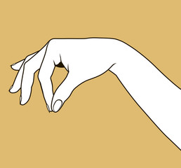 Contour of woman's hand palm down with pinch fingers