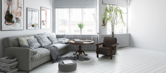 Möbliertes Apartment (Teilentwurf panoramisch)