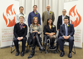 Canadian Sports Hall of Fame inductees pose for a group photo in Calgary