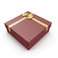 Square red giftbox with lid tied with an ornamental ribbon on white. 3D illustration
