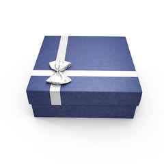 Isolated blue gift box on white. 3D illustration