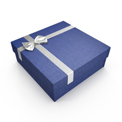 Blue gift box with yellow ribbon on white. 3D illustration