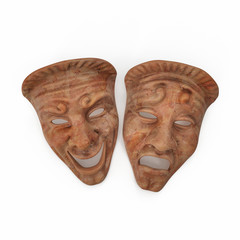 Theatre Masks Set Red Marble on white. 3D illustration