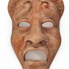 Theatre Masks Set Red Marble on white. 3D illustration
