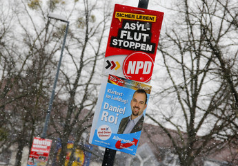 Election campaign placards of far-right National Democratic Party and the right-wing Alternative for Germany for the upcoming eastern Saxony-Anhalt state elections are pictured in Wolfen