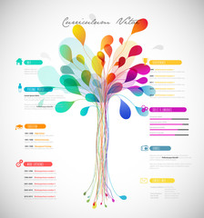 Creative, color rich CV / resume template with abstract tree in the center.
