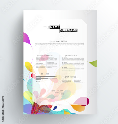 creative abstract colorful cv resume template stock image and