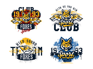 A set of prints on a T-shirt, isolated on a white background, an aggressive American fox, a forest predator. Sports identity, club logo, lettering, text. Vector illustration, grunge effect
