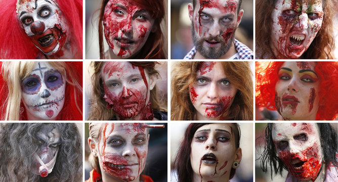 """Combination picture shows participants of a """"Zombie Walk"""" posing for portraits in Strasbourg"""