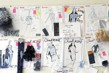 Drawings of Haute Couture Chanel dresses by designer Karl Lagerfeld are displayed at the luxury Montex embroidery workshop in Paris