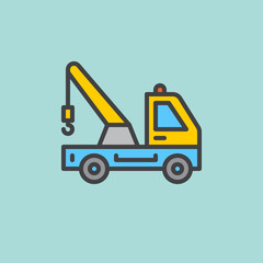 Tow truck filled outline icon, line vector sign, flat colorful pictogram. Symbol, logo illustration. Pixel perfect