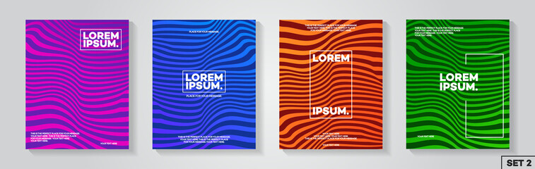 Cover design template set with abstract lines modern color gradient style for decoration flyer