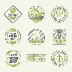 Organic shop and farm fresh logo set color line style for natural product company