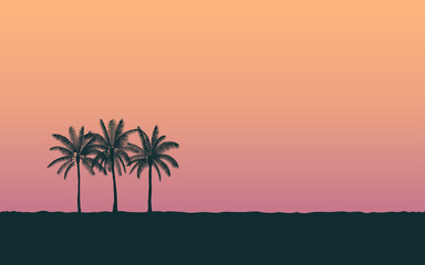 Silhouette palm tree in flat icon design at sunset with vintage filter background