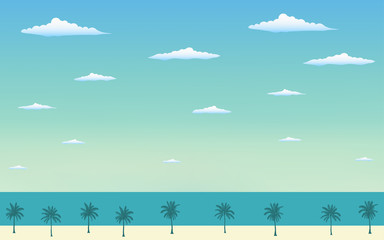Silhouette palm tree on the beach in flat icon design and blue sky background
