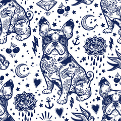 Vintage traditional tattoo flash seamless pattern.