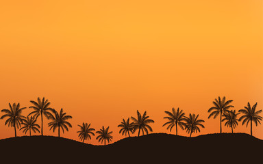 Silhouette palm tree in flat icon design on hill at sunset sky with vintage filter background
