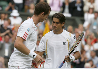 Andy Murray of Britain shakes hands with David Ferrer of Spain after defeating him in their men's quarter-final tennis match at the Wimbledon tennis championships in London