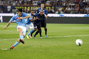 Napoli's Hamsik fails to score from the penalty spot during their Italian Serie A soccer match against Inter Milan in Milan