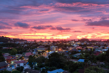 Beautiful view city phuket at sunset