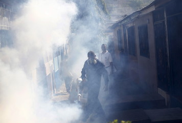 A municipal health worker fumigates in a neighborhood as part of the city's effort to prevent the spread of Zika virus' vector, the Aedes aegypti mosquito, in Tegucigalpa