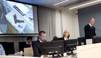 Public prosecutors show pictures of equipment and materials used by Norwegian mass killer Breivik, on the opening day of proceedings against Breivik, in Oslo