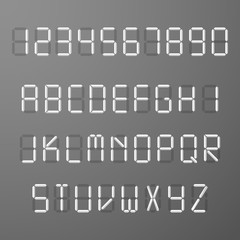 Digital 3d display time numbers and letters vector set