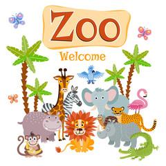 Zoo vector illustration with wild cartoon safari animals
