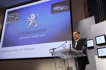 Jean-Marc Gales, head of the Peugeot and Citroen brands at the French carmaker, speaks during a news conference in Paris