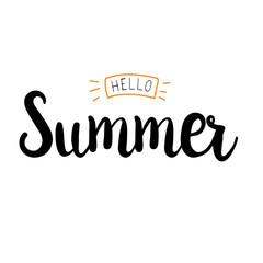 Hello Summer vector illustration, background. Hand lettering inspirational typography poster, banner.