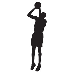 Basketball player jumping and shooting. Vector silhouette
