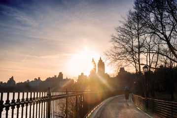 Central Park's track around The Reservoir at sunset