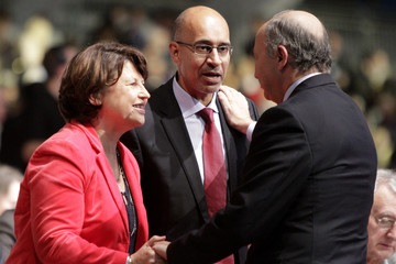 Harlem Desir,  newly-elected French Socialist Party head, and Martine Aubry attend the party?s annual congress in Toulouse