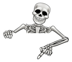 Cartoon Skeleton Pointing Sign