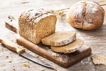Whole wheat bread on cutting board