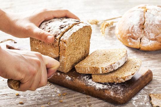 Female hands cutting whole wheat bread