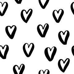 Black and white seamless pattern with hearts. Abstract vector illustration