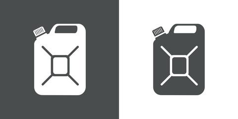 Icono plano bidón gris y blanco